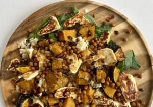 Roast Pumpkin & Haloumi Salad with Crunchy Chickpeas